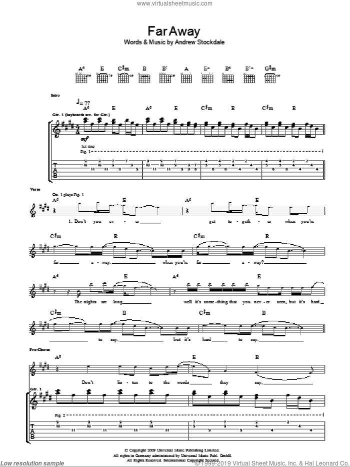 Far Away sheet music for guitar (tablature) by Andrew Stockdale. Score Image Preview.
