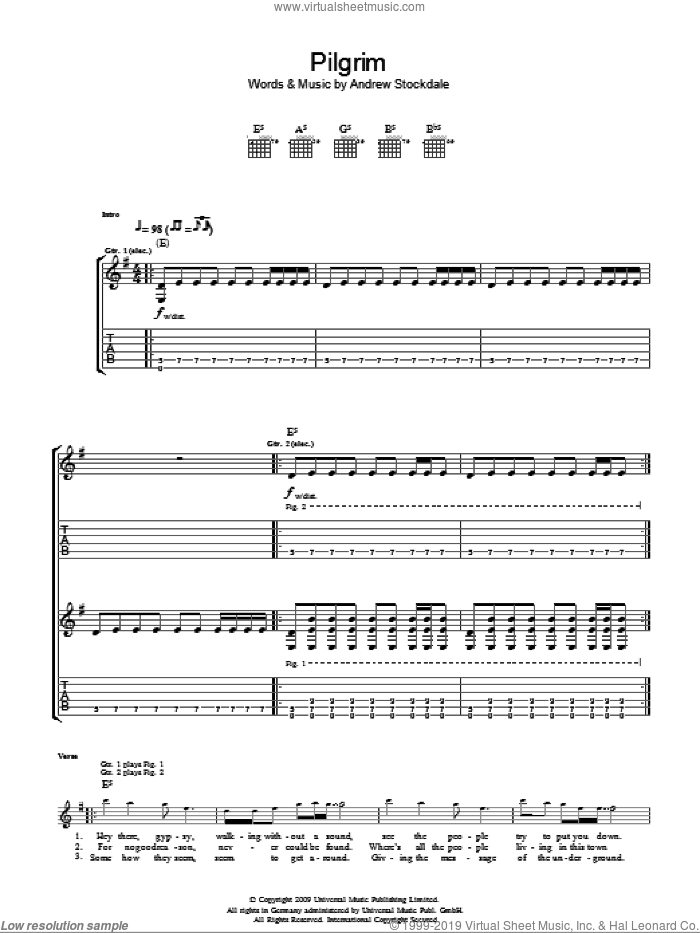 Pilgrim sheet music for guitar (tablature) by Andrew Stockdale. Score Image Preview.