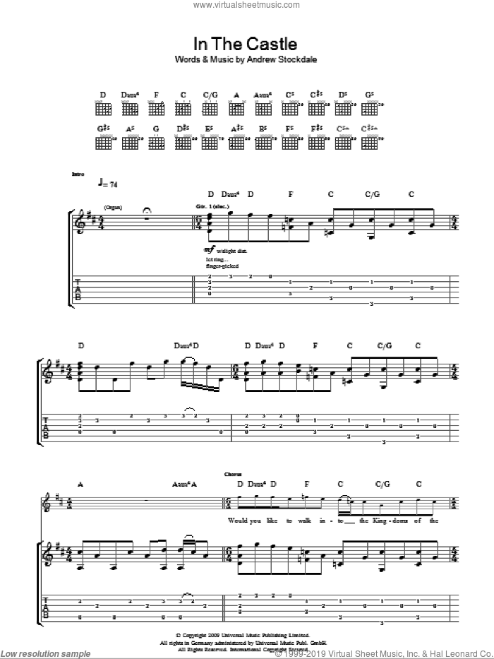 In The Castle sheet music for guitar (tablature) by Andrew Stockdale. Score Image Preview.