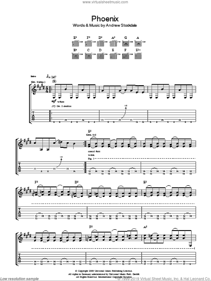 Phoenix sheet music for guitar (tablature) by Wolfmother and Andrew Stockdale, intermediate skill level