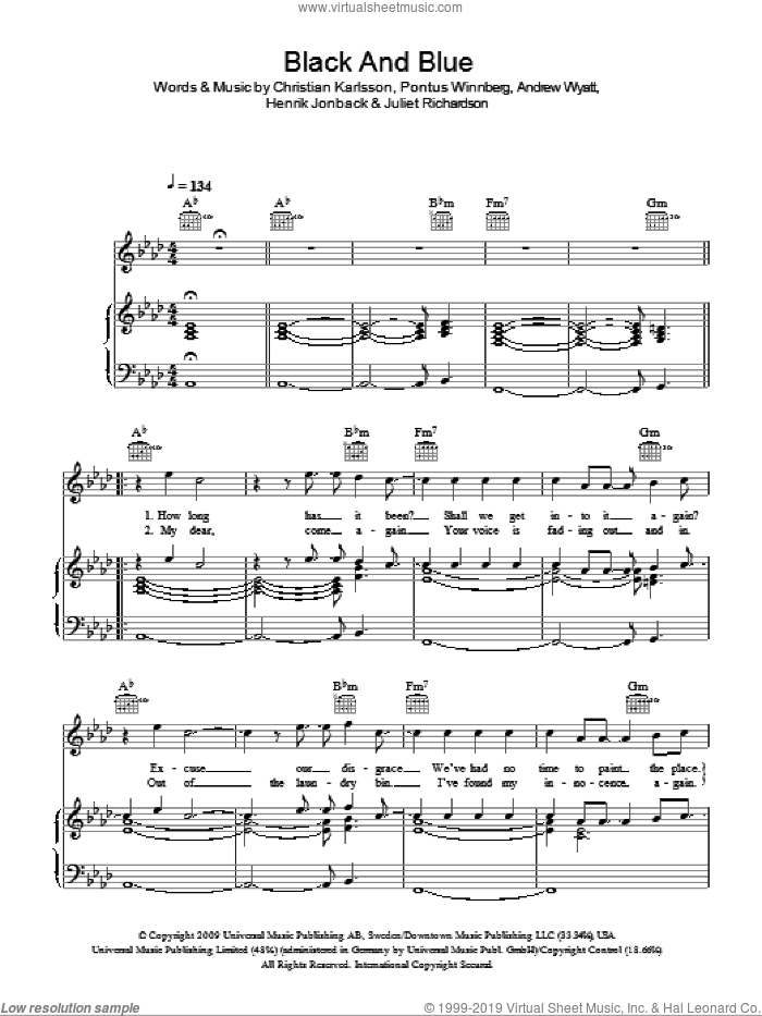 Black and Blue sheet music for voice, piano or guitar by Pontus Winnberg, Andrew Wyatt and Christian Karlsson. Score Image Preview.
