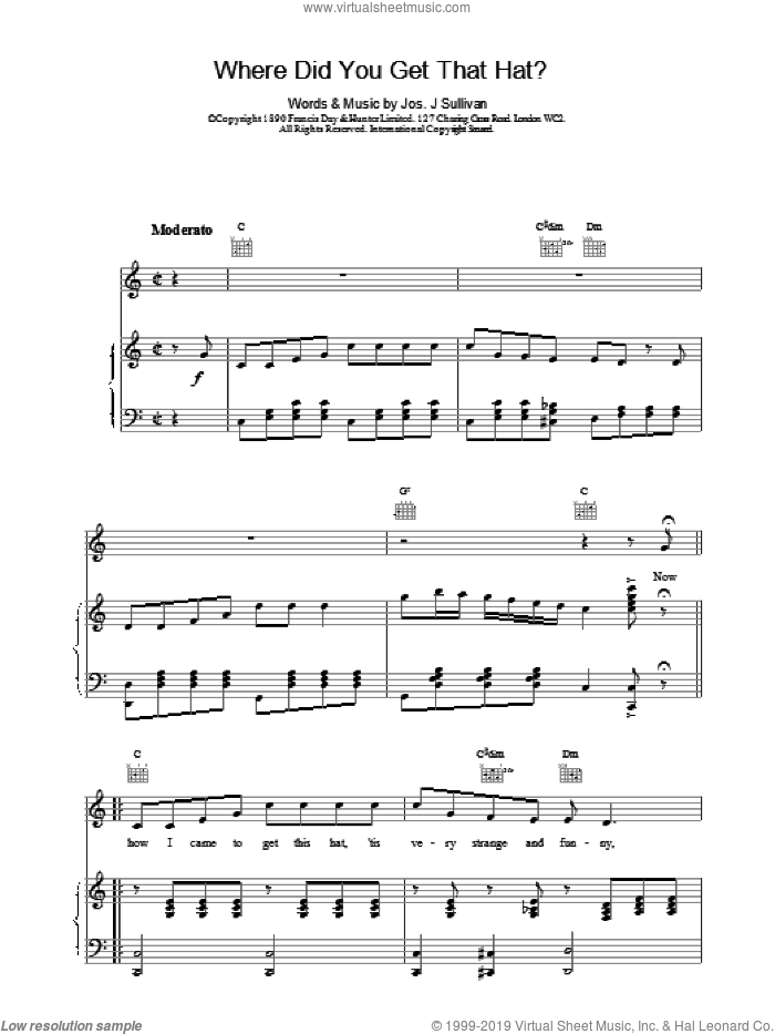 Where Did You Get That Hat? sheet music for voice, piano or guitar by Jos J Sullivan. Score Image Preview.