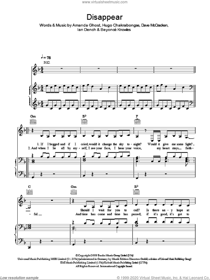 Disappear sheet music for voice, piano or guitar by Beyonce, Amanda Ghost, Dave McCracken, Hugo Chakrabongse and Ian Dench, intermediate skill level
