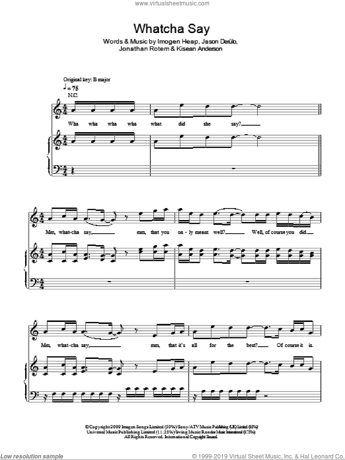 Whatcha Say sheet music for voice, piano or guitar by Jason Derulo, Imogen Heap, Jonathan Rotem and Kisean Anderson, intermediate skill level