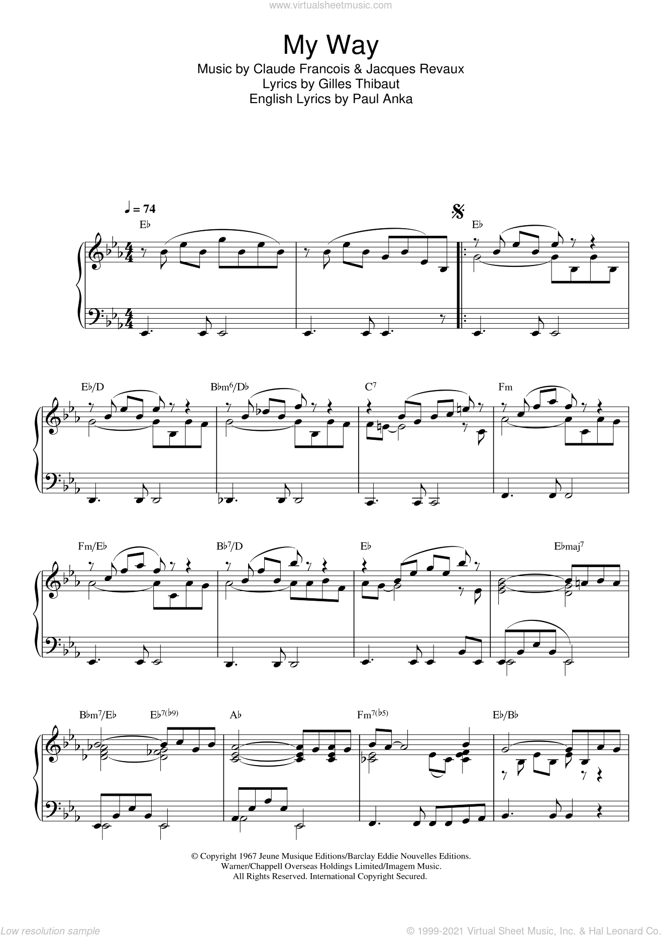 My Way sheet music for piano solo by Jacques Revaux