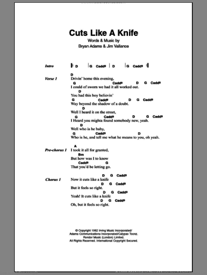 Cuts Like A Knife sheet music for guitar (chords) by Jim Vallance and Bryan Adams. Score Image Preview.