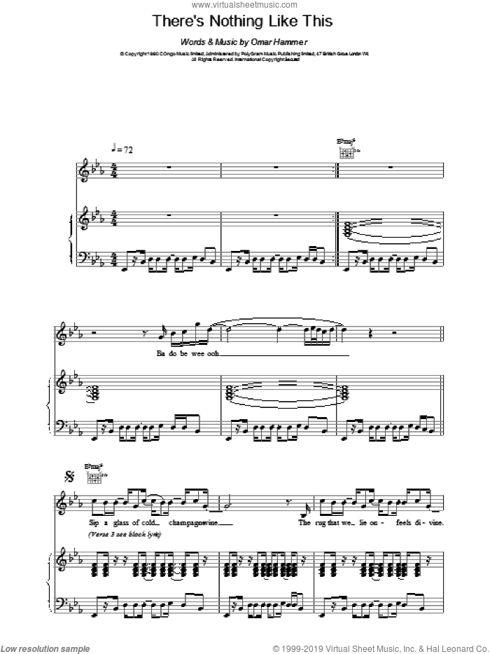 There's Nothing Like This sheet music for voice, piano or guitar by Omar, intermediate. Score Image Preview.