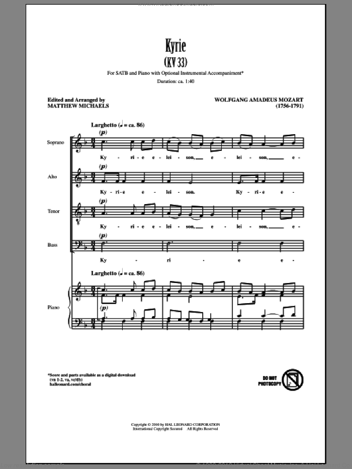 Kyrie (KV33) sheet music for choir (SATB: soprano, alto, tenor, bass) by Wolfgang Amadeus Mozart and Matthew Michaels, classical score, intermediate. Score Image Preview.
