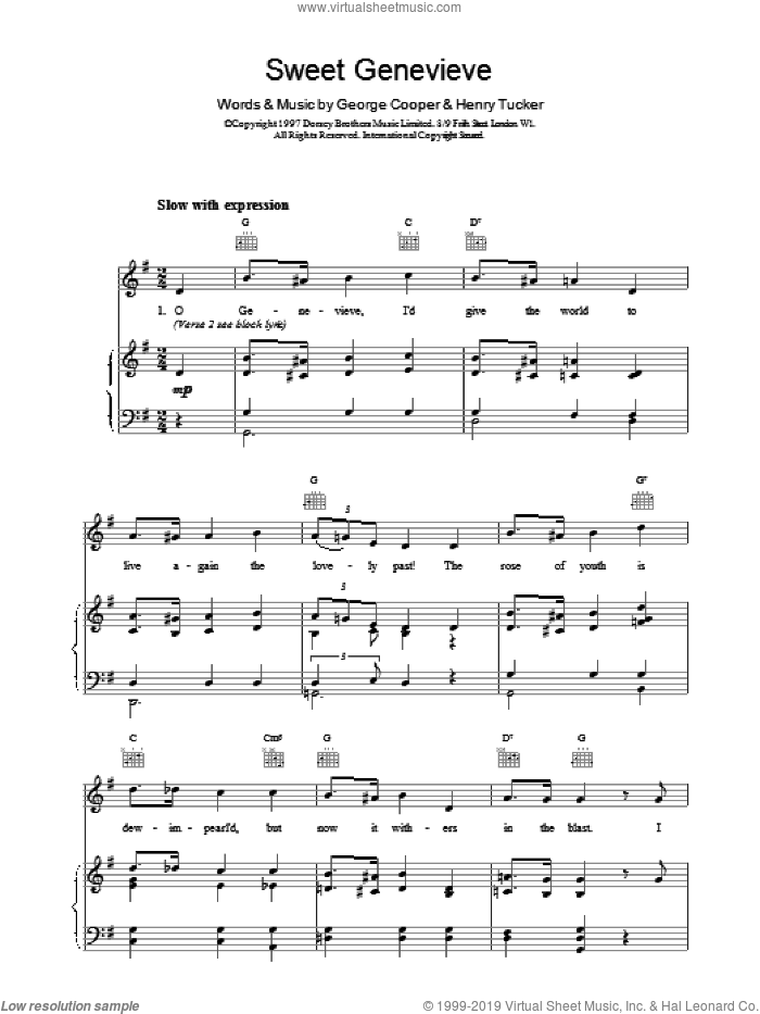 Sweet Genevieve sheet music for voice, piano or guitar by George Cooper, intermediate. Score Image Preview.