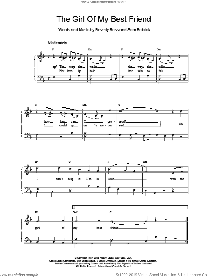 The Girl Of My Best Friend sheet music for piano solo by Elvis Presley, easy piano. Score Image Preview.