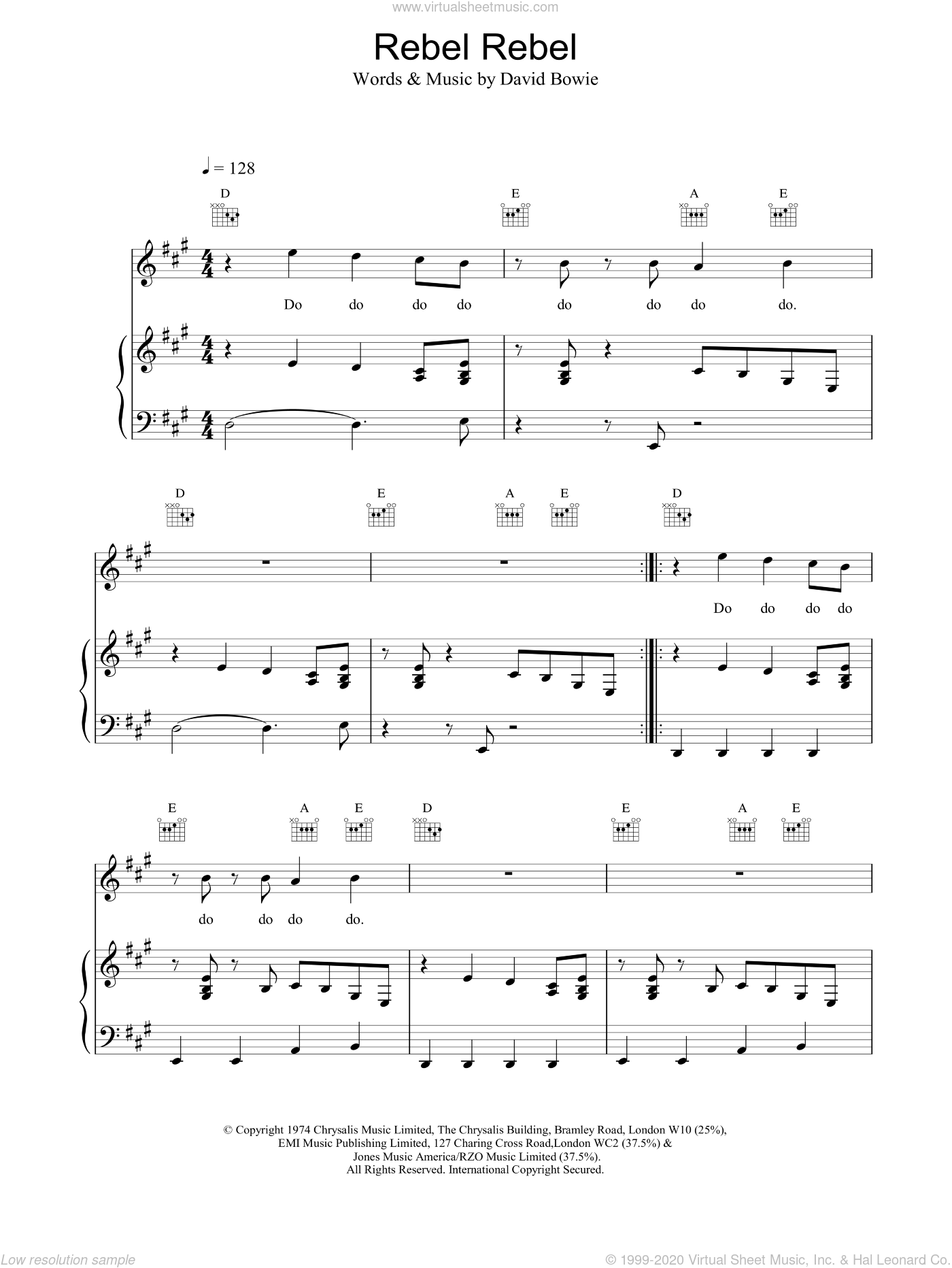 Rebel Rebel sheet music for voice, piano or guitar by David Bowie, intermediate