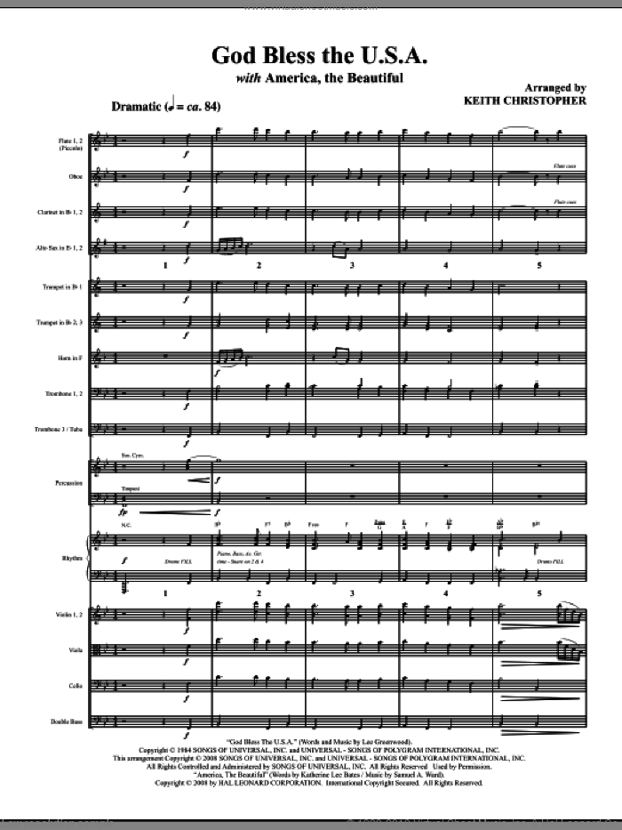 God Bless The U.S.A (with America, The Beautiful) (COMPLETE) sheet music for orchestra/band (Orchestra) by Keith Christopher, intermediate skill level