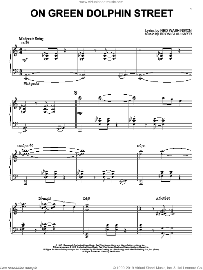 On Green Dolphin Street (arr. Brent Edstrom) sheet music for piano solo by Bill Evans, Miles Davis, Bronislau Kaper and Ned Washington, intermediate skill level