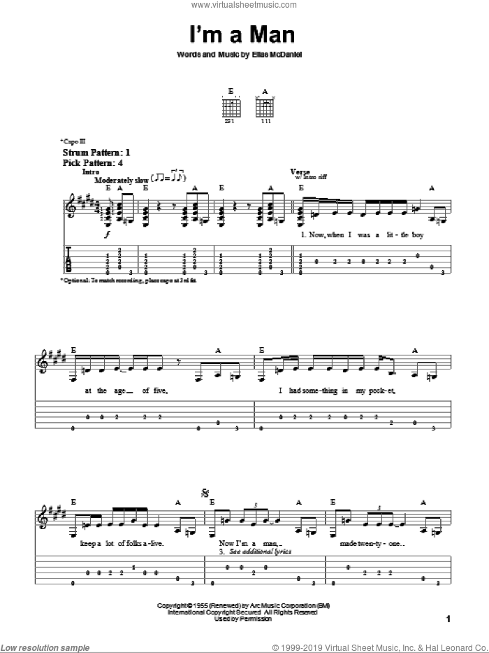 I'm A Man sheet music for guitar solo (easy tablature) by The Yardbirds, Bo Diddley and Ellas McDaniels, easy guitar (easy tablature)