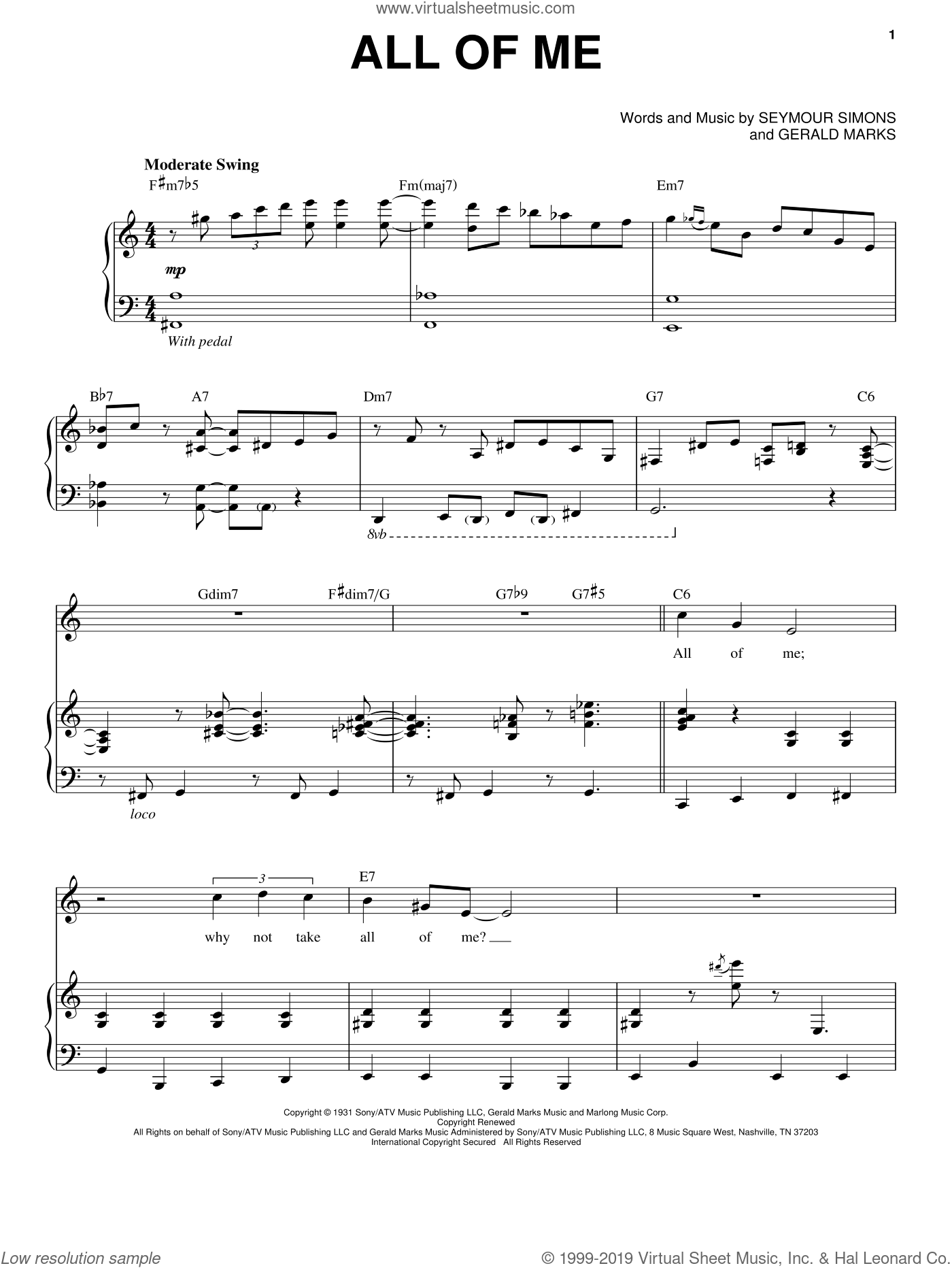 All Of Me sheet music for voice and piano by Michael Buble, Frank Sinatra, Louis Armstrong, Willie Nelson, Gerald Marks and Seymour Simons, intermediate. Score Image Preview.