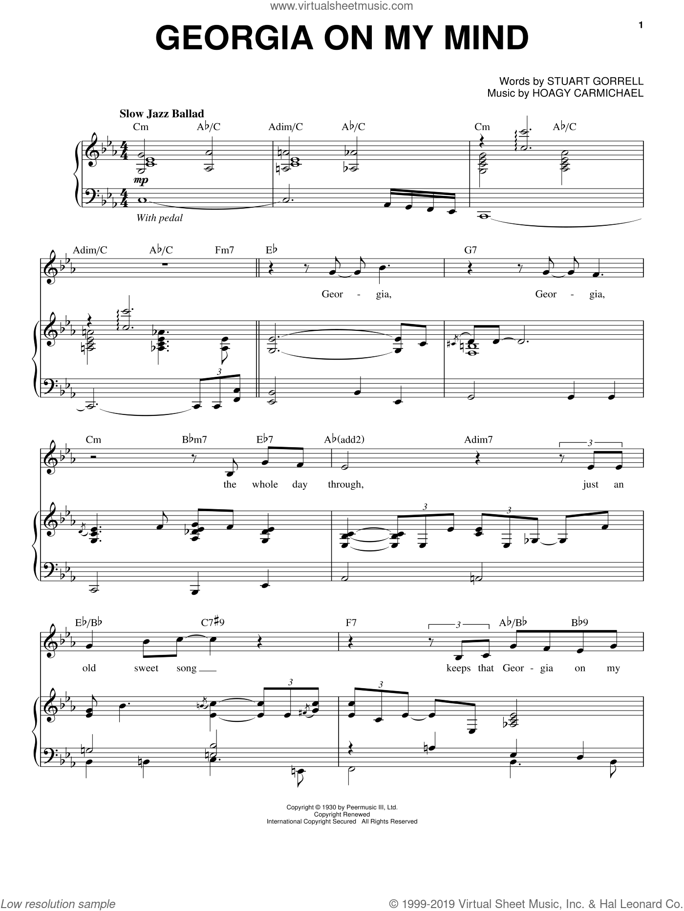 Georgia On My Mind sheet music for voice and piano by Michael Buble, Ray Charles, Willie Nelson, Hoagy Carmichael and Stuart Gorrell, intermediate skill level