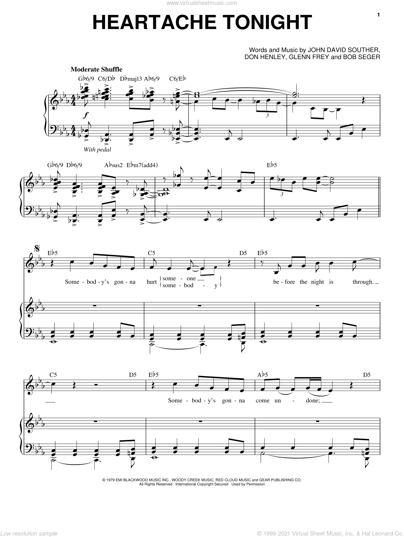 Heartache Tonight sheet music for voice and piano by John David Souther, Eagles, Michael Buble, Bob Seger, Don Henley and Glenn Frey. Score Image Preview.