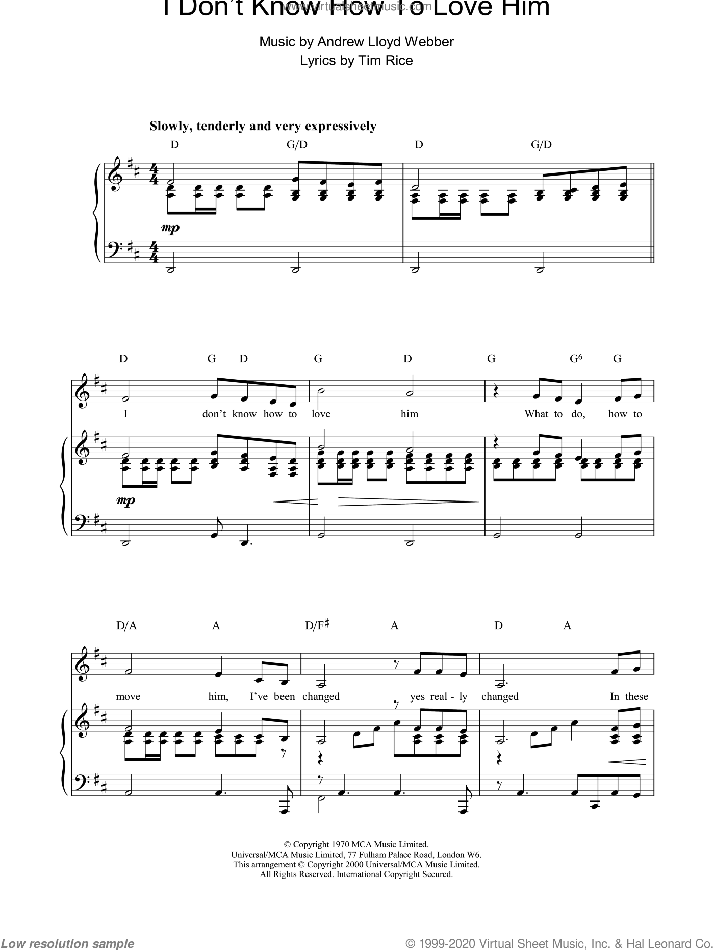 I Don't Know How To Love Him sheet music for voice, piano or guitar by Andrew Lloyd Webber