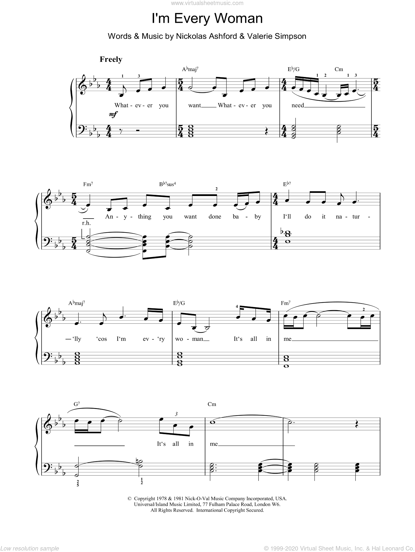 I'm Every Woman sheet music for voice, piano or guitar by Whitney Houston and Miscellaneous. Score Image Preview.
