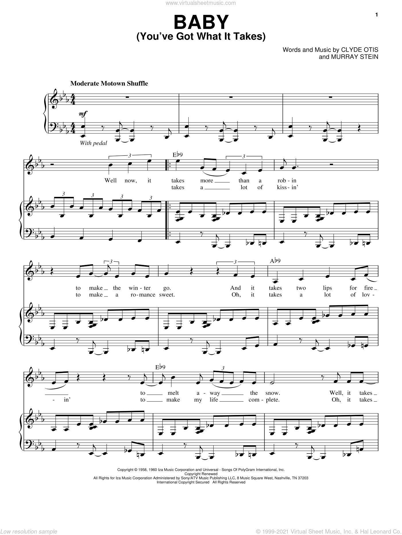 Baby (You've Got What It Takes) sheet music for voice and piano by Michael Buble, Brenton Brown, Dinah Washington, Clyde Otis and Murray Stein, intermediate skill level