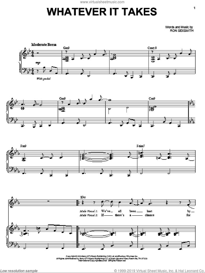 Whatever It Takes sheet music for voice and piano by Michael Buble and Ron Sexsmith, intermediate skill level
