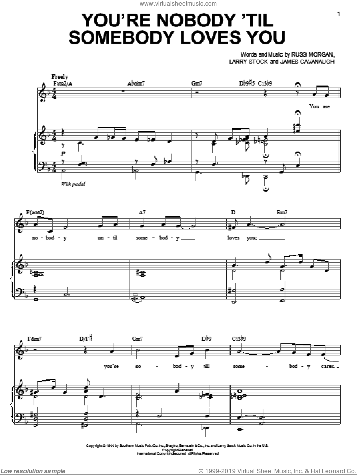 You're Nobody 'Til Somebody Loves You sheet music for voice and piano by Michael Buble, Dean Martin, Frank Sinatra, James Cavanaugh, Larry Stock and Russ Morgan, intermediate skill level