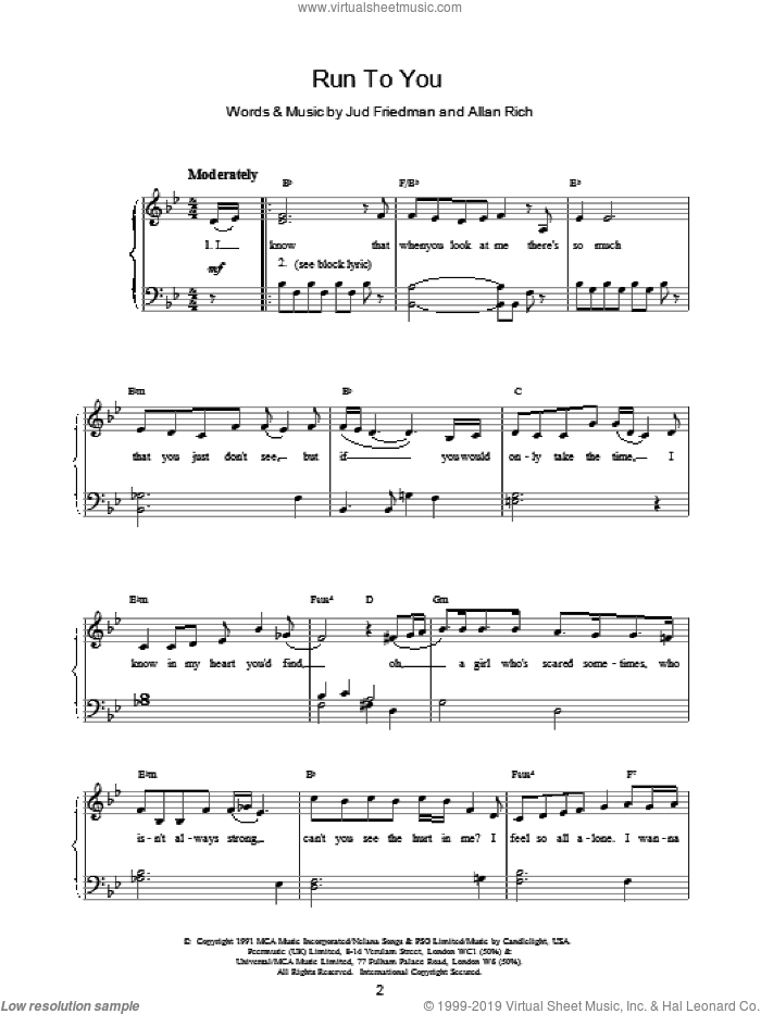 Run To You sheet music for voice, piano or guitar by Jud Friedman and Whitney Houston