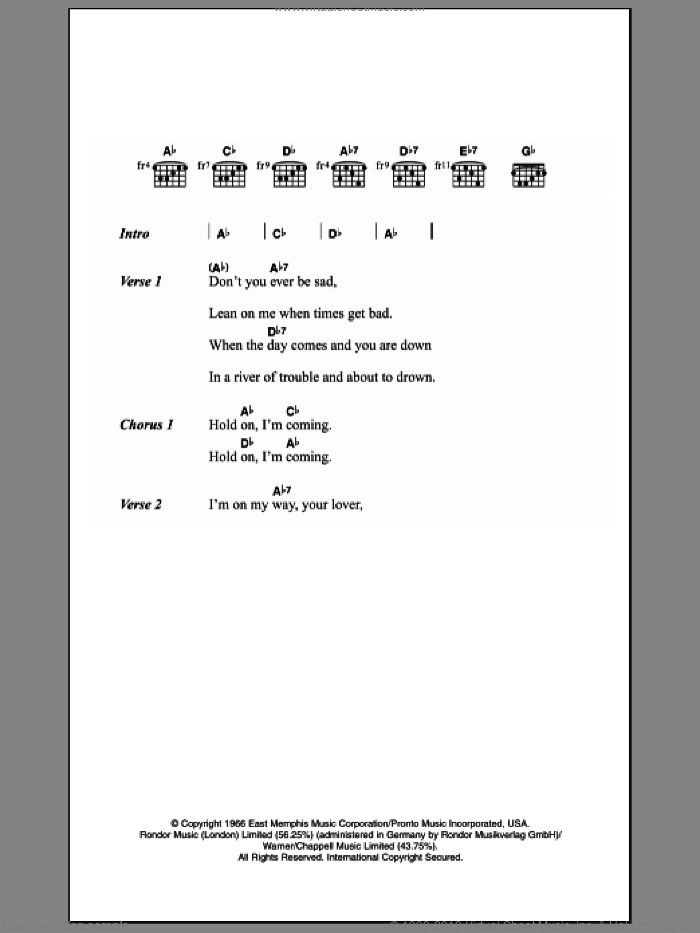 Hold On I'm Comin' sheet music for guitar (chords) by Isaac Hayes