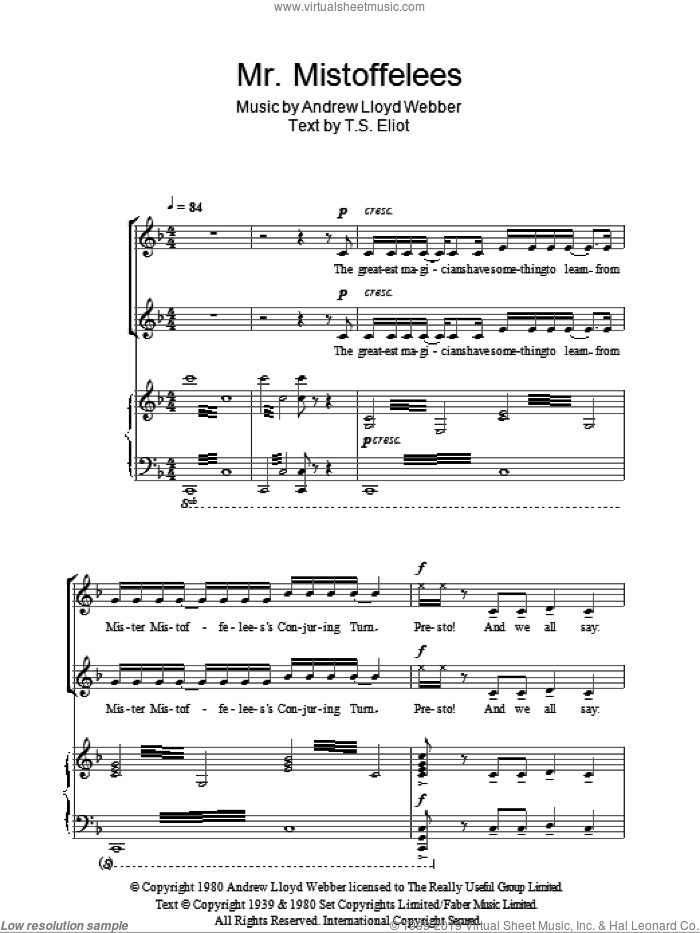 Mr. Mistoffelees sheet music for choir (duets) by T.S. Eliot and Andrew Lloyd Webber. Score Image Preview.