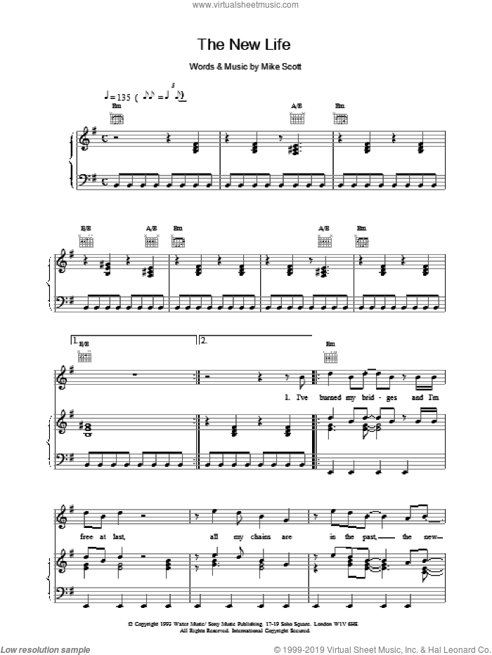 The New Life sheet music for voice, piano or guitar by Mike Scott