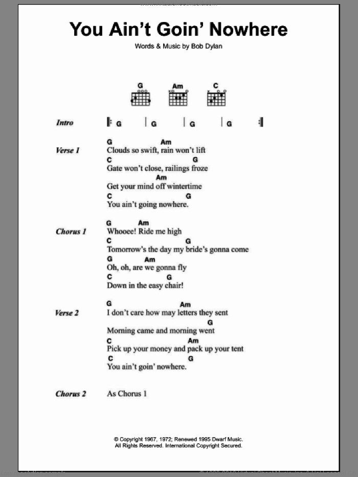 You Ain't Goin' Nowhere sheet music for guitar (chords) by Bob Dylan, intermediate