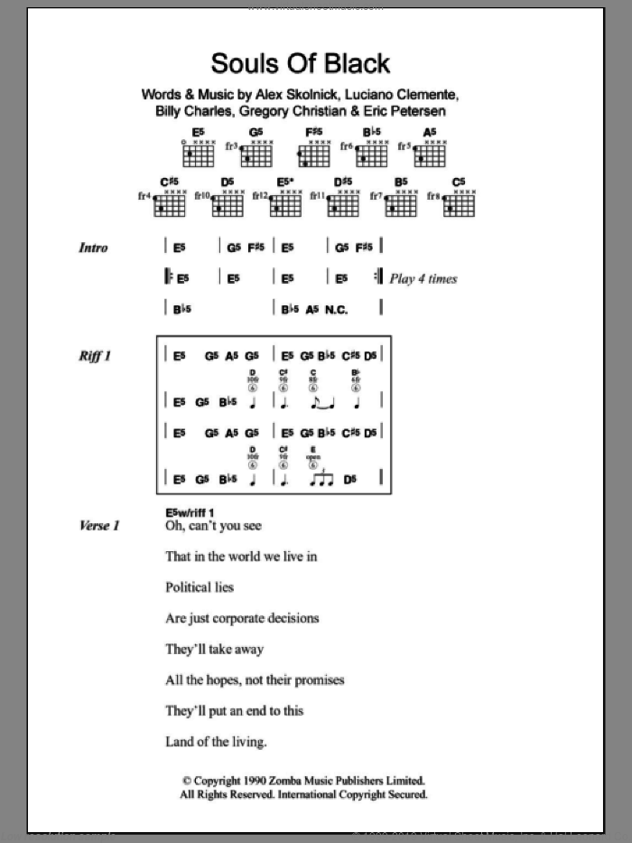 Souls Of Black sheet music for guitar (chords) by Luciano Clemente. Score Image Preview.
