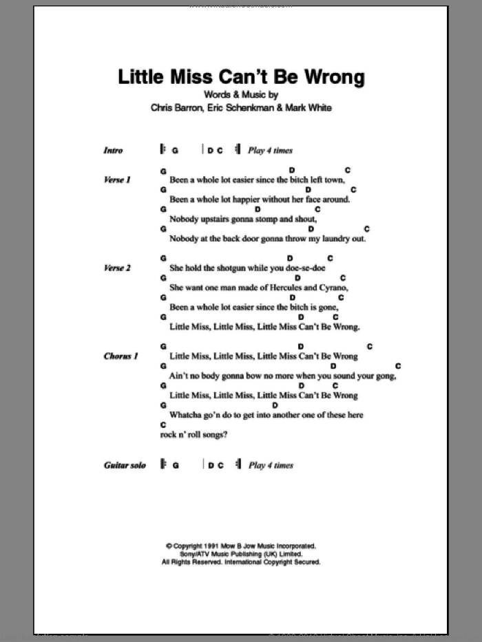 Little Miss Can't Be Wrong sheet music for guitar (chords) by Mark White and Spin Doctors. Score Image Preview.