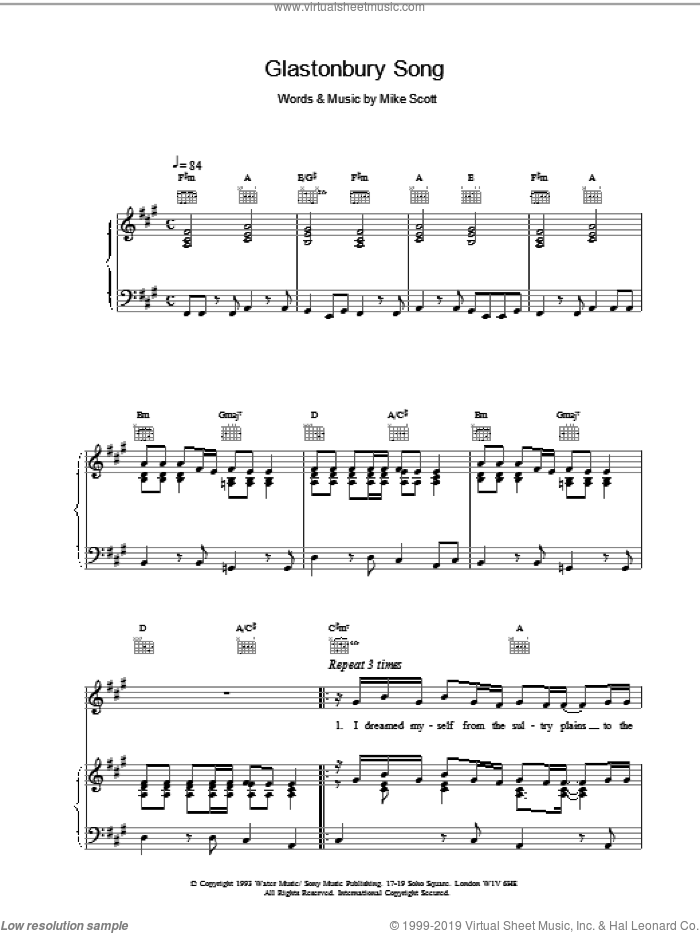 Glastonbury Song sheet music for voice, piano or guitar by Mike Scott and The Waterboys. Score Image Preview.