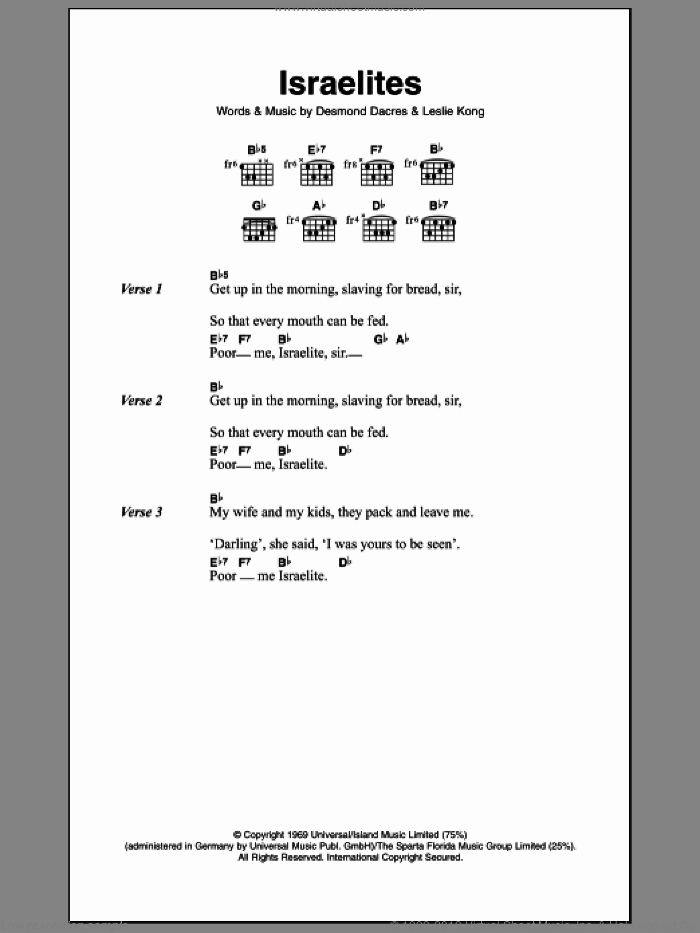 Israelites sheet music for guitar (chords) by Desmond Dekker & The Aces and Desmond Dekker, intermediate. Score Image Preview.