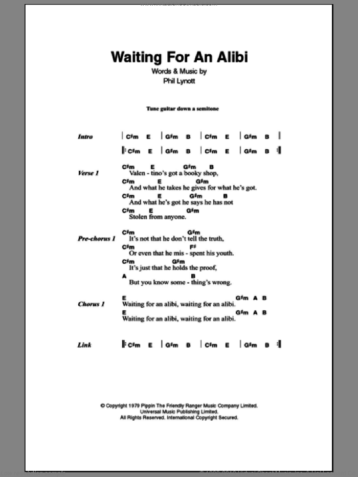 Waiting For An Alibi sheet music for guitar (chords, lyrics, melody) by Phil Lynott