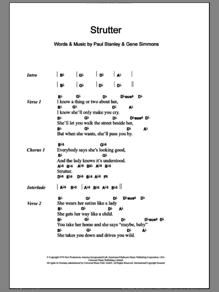 Strutter sheet music for guitar (chords) by KISS, Gene Simmons and Paul Stanley, intermediate guitar (chords). Score Image Preview.