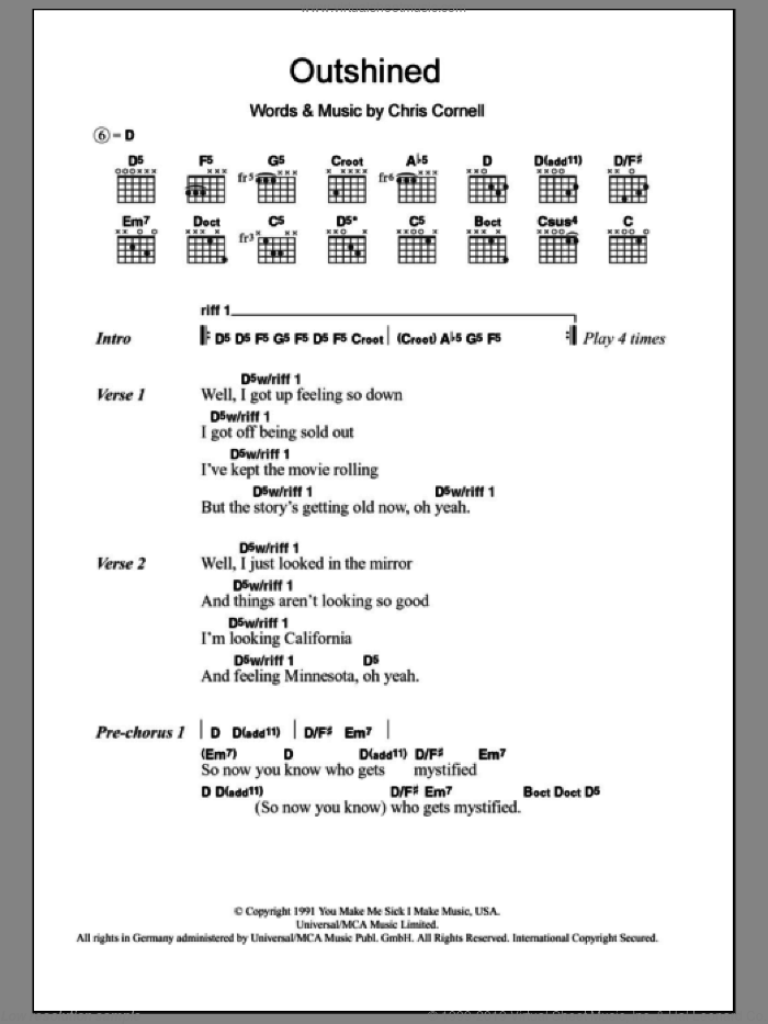 Outshined sheet music for guitar (chords) by Chris Cornell and Soundgarden. Score Image Preview.