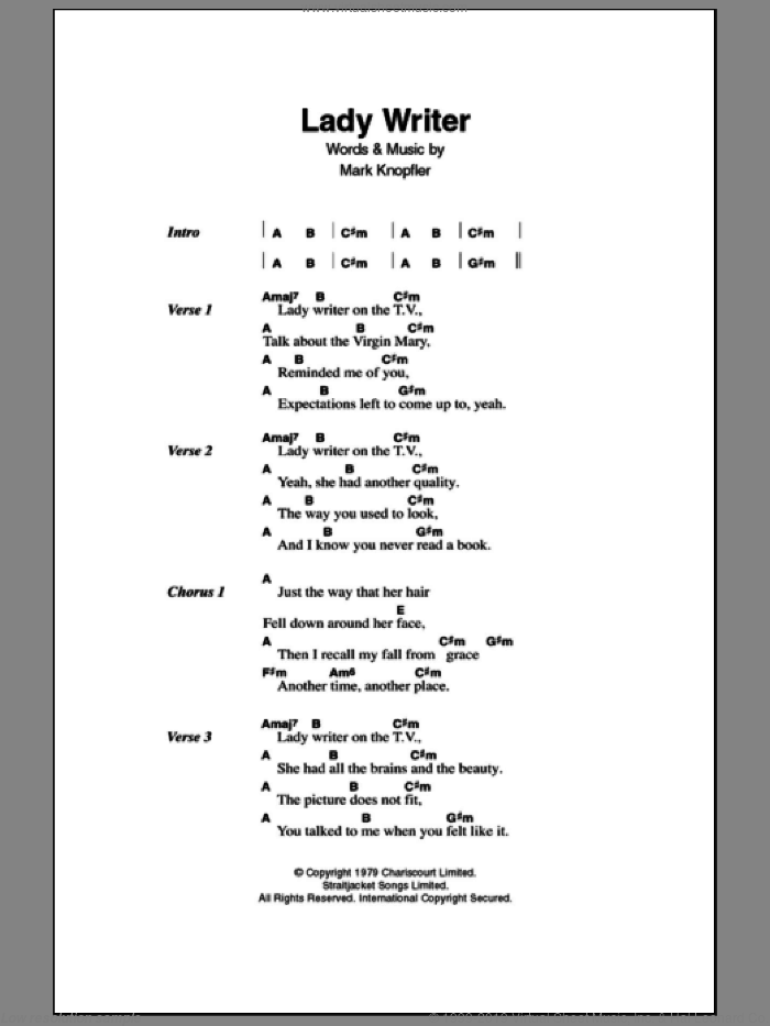 Lady Writer sheet music for guitar (chords) by Dire Straits and Mark Knopfler, intermediate. Score Image Preview.
