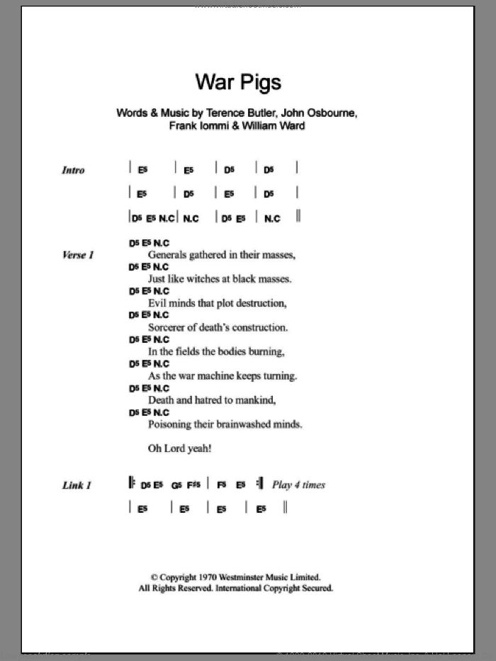 War Pigs sheet music for guitar (chords) by William Ward