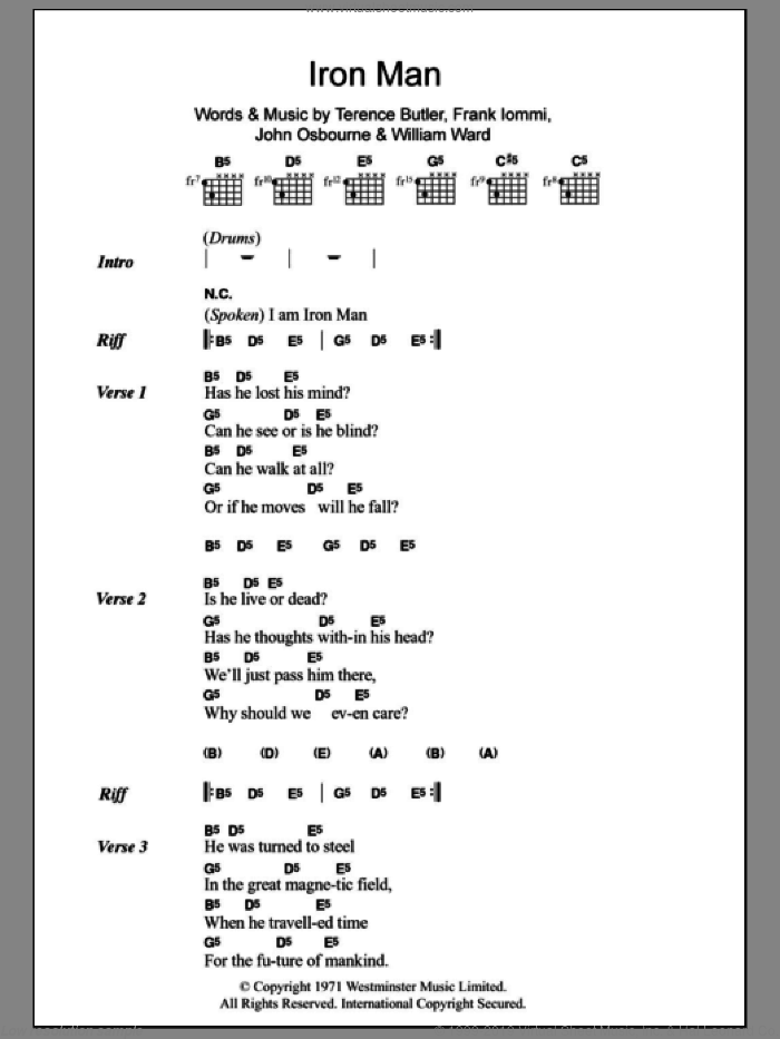 Iron Man sheet music for guitar (chords) by William Ward, Black Sabbath, Ozzy Osbourne and Terence Butler. Score Image Preview.