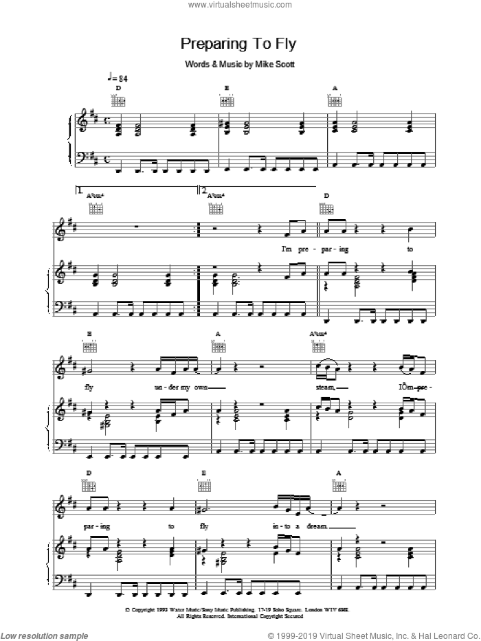 Preparing To Fly sheet music for voice, piano or guitar by Mike Scott and The Waterboys. Score Image Preview.