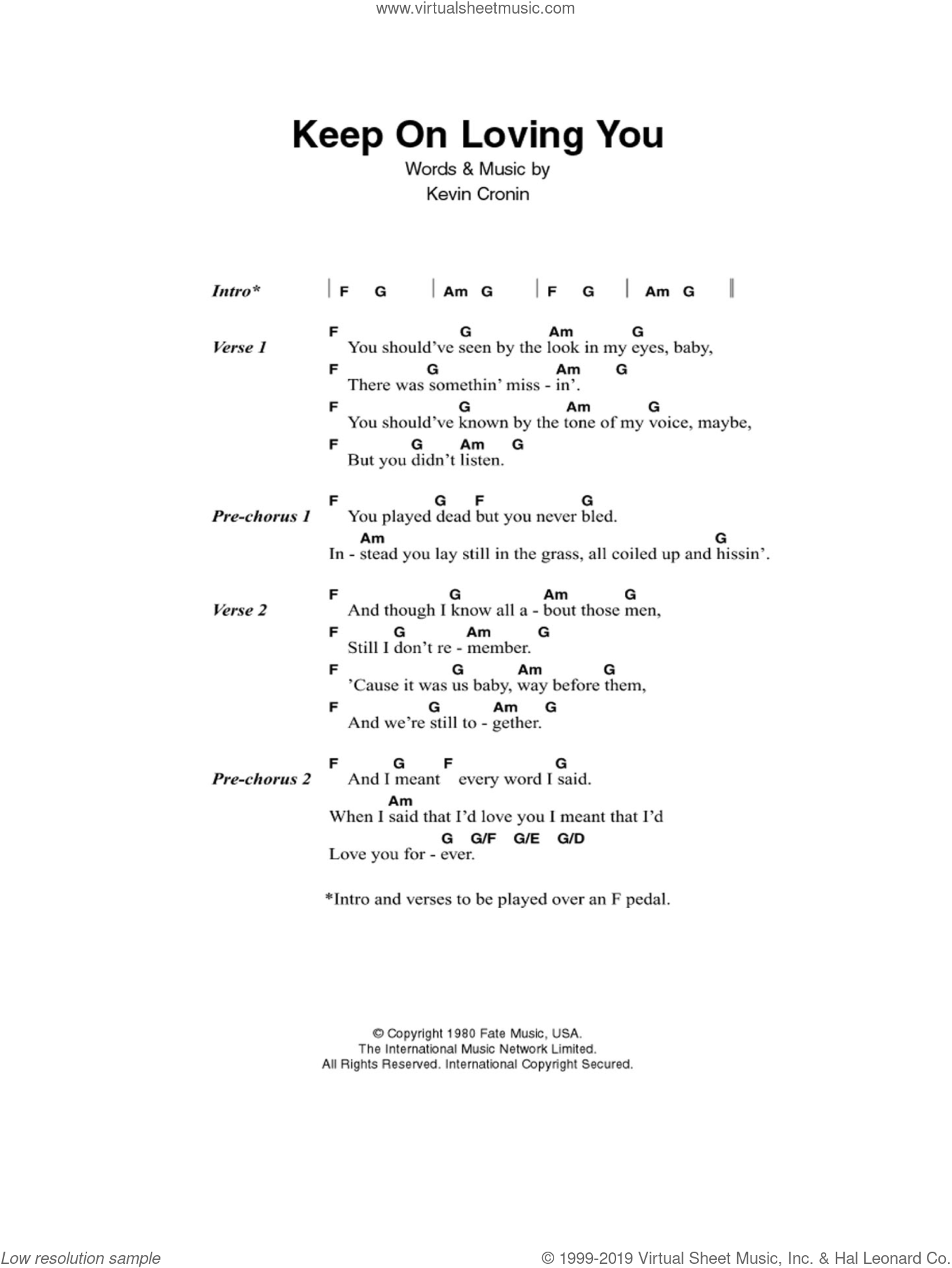 Keep On Loving You sheet music for guitar (chords) by Kevin Cronin. Score Image Preview.