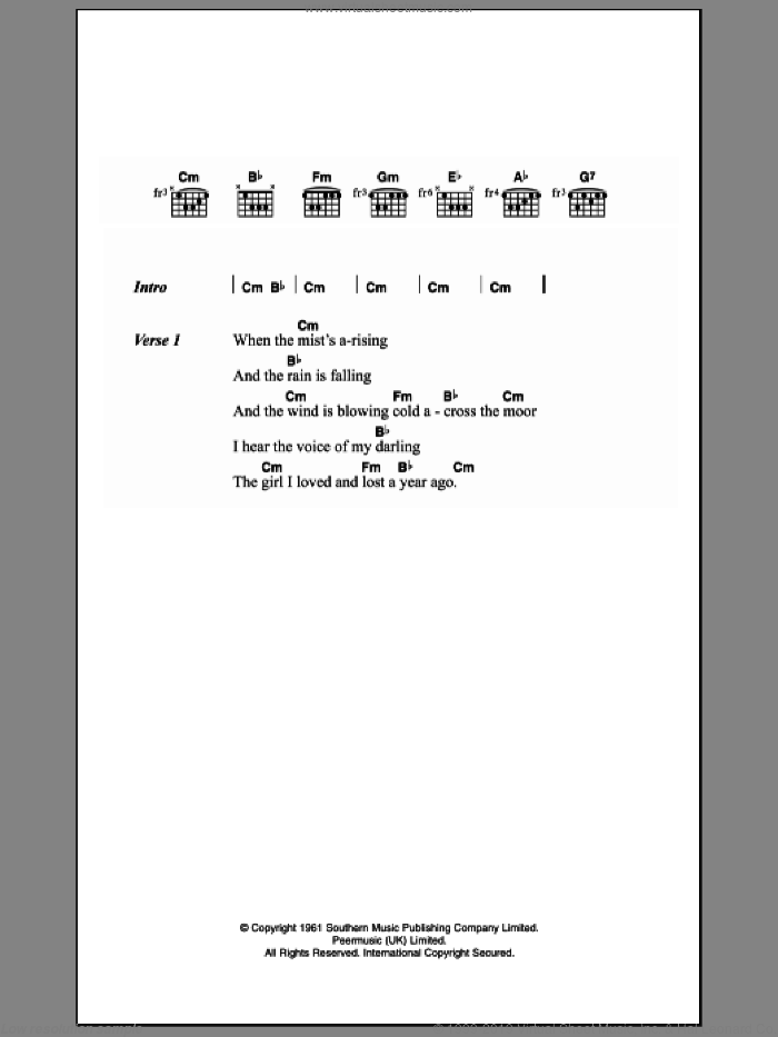 Leyton - Johnny Remember Me sheet music for guitar (chords) [PDF]