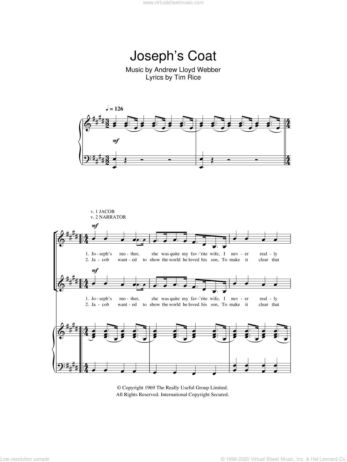 Jacob And Sons / Joseph's Coat sheet music for choir (2-Part) by Andrew Lloyd Webber and Tim Rice, intermediate duet