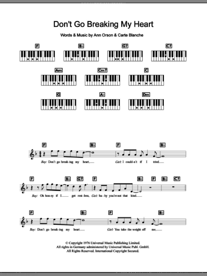 Don't Go Breaking My Heart sheet music for piano solo (chords, lyrics, melody) by Carte Blanche, Elton John and Ann Orson. Score Image Preview.