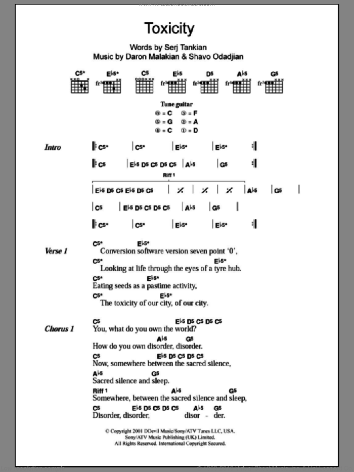 Toxicity sheet music for guitar (chords, lyrics, melody) by Shavo Odadjian