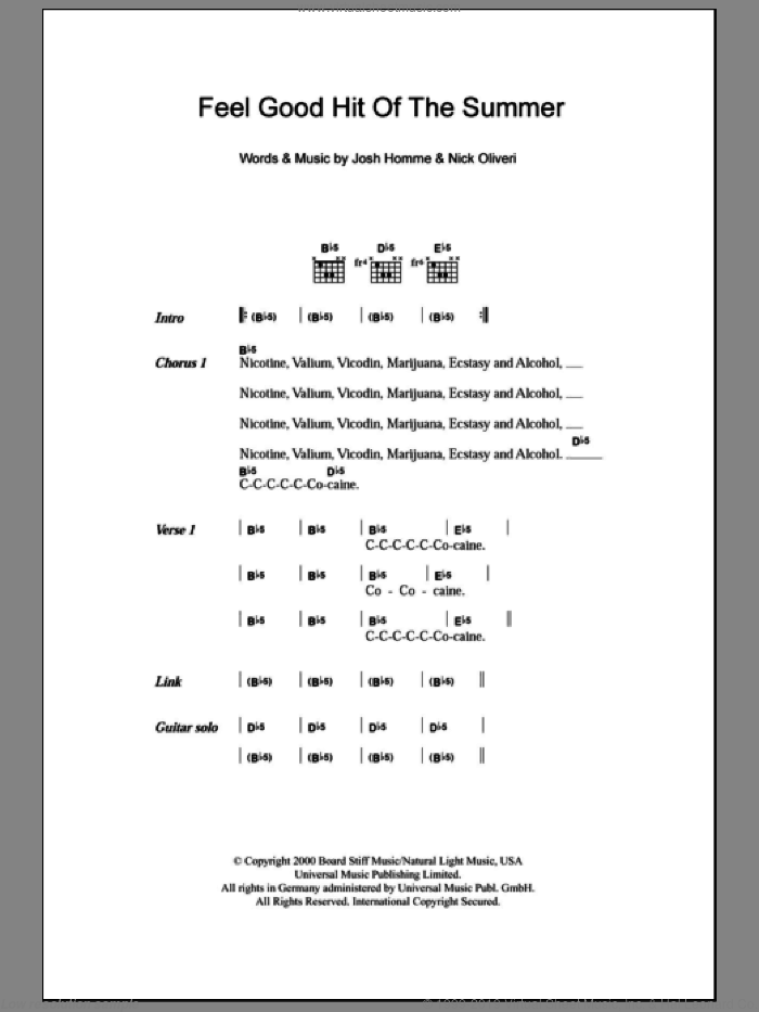 Feel Good Hit Of The Summer sheet music for guitar (chords) by Nick Oliveri