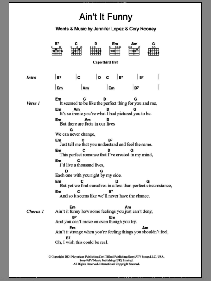Ain't It Funny sheet music for guitar (chords) by Cory Rooney and Jennifer Lopez. Score Image Preview.