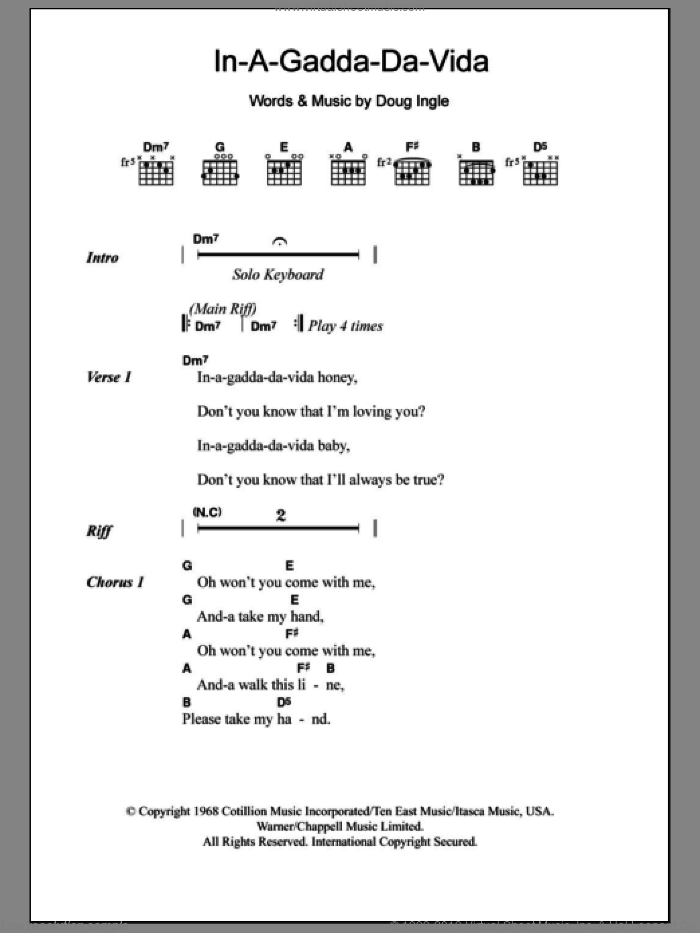 In-A-Gadda-Da-Vida sheet music for guitar (chords) by Doug Ingle and Iron Butterfly. Score Image Preview.